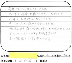 京都市山科区捻挫70代女性の口コミ